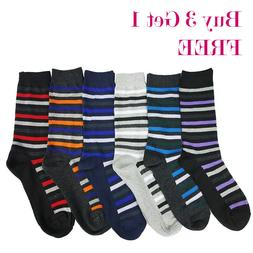 Lot of 6 Pairs Men Dress Socks Thin Cotton Stripe Long Crew