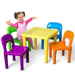OxGord PLTC-01 Kids Plastic Table and Chairs Set