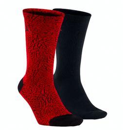 NIKE AIR JORDAN Elephant Print Crew Socks 2-Pack Men's Size