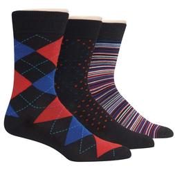 Hanes Premium Men's Assorted Black with Blues Dress Socks 3-