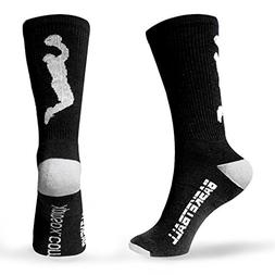 Basketball Socks Half Cushioned Crew Socks - Black, One Size