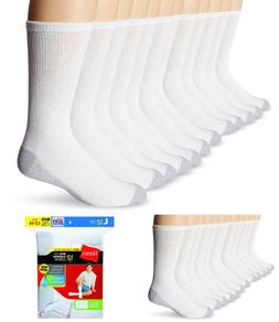Hanes Men's Big & Tall Crew Socks, White, Size 12-14, 12-Pac