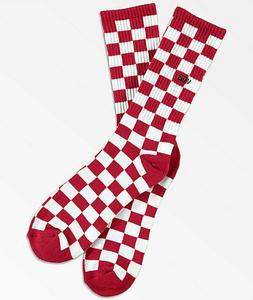 Vans Checkerboard Red White Crew Socks - One Size Fits Men's