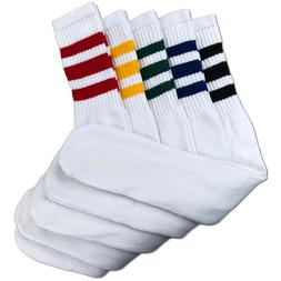 Mens 5 Pair Classic Multi Striped Sports Tube Socks,Sock Siz