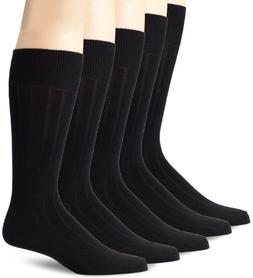Dockers Men's 5 Pack Classics Classic Rib Crew Socks, Black,