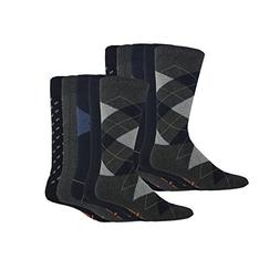 Dockers Men's Classics Dress Argyle Crew Socks, Navy, 10 Pai