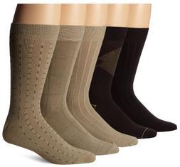 Dockers Men's 5-Pack Classics Dress Dashed Crew Socks, Navy,