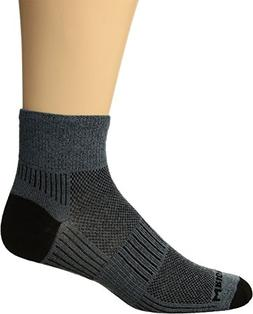 WrightSock Women's Coolmesh II Quarter Single Pack, Grey, Sm