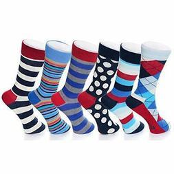 Alpine Swiss 6 Pack Men's Cotton Dress Socks Mid Calf Argyle