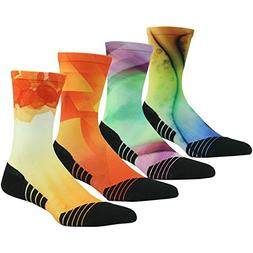 Crazy Fun Colored Socks for Men Women HUSO Athletic Sports C