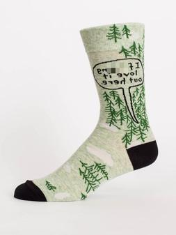 Blue Q Men's Crew Socks, I F****ng Love it Out Here - Green/