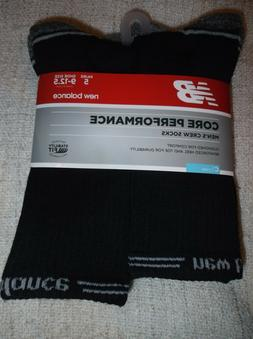 New Balance MEN'S CREW SOCKS 5 Pair BLACK Core Performance S
