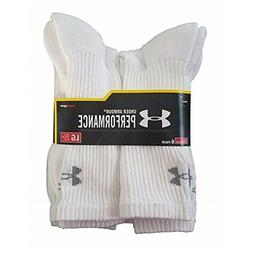 UNDER ARMOUR Performance 6 Pair White Crew Socks Size L $19.