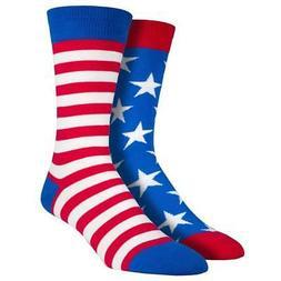 Socksmith Men's Crew Socks USA American Flag Stars and Strip