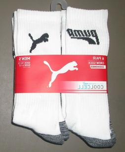 PUMA Men's Crew Socks, Size 10-13, White/Multi,