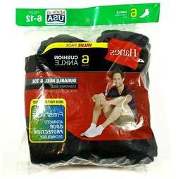 Hanes Men's Full Cushion Socks Ankle Black, 6-12-Black