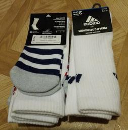 Adidas Cushioned Crew Socks 3 Pair Men's Shoe Size 6-12 Whit