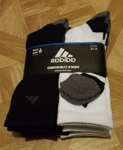 Adidas Cushioned Moisture Wicking Crew Socks 6-Pair Men's Si