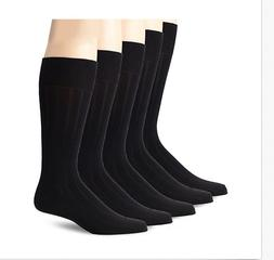 Dockers Men's 5 Pack Classics Classic Rib Crew Socks Black 1