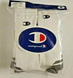 Champion Double Dry 6 Pack White Crew Performance Men's Sock