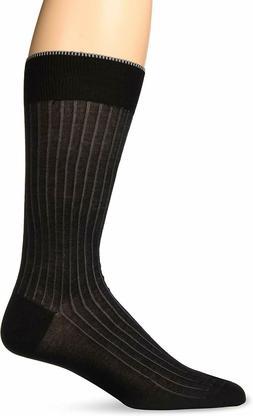 Zanella Dress Socks Vertical Ribbed Made in Italy Z9022, Bla