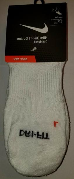 NIKE DRI-FIT CUSHIONED LOW CUT TRAINING SOCKS 3-PAIR WHITE /
