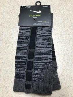 Nike Elite Crew Cushioned Basketball Socks Grey/Black SX7623
