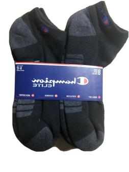 Champion Elite Mens Low Cut Socks Size 6-12 BLACK Double Dry