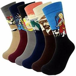 Famous Painting Art Printed Mens Dress Socks - HSELL Crazy P