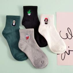 Fashion Cartoon 14Patterns Tube Socks Hosiery Women Men Embr
