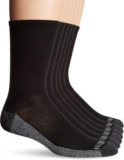 Fruit of the Loom Men's 6 Pack Crew Black Shoe 6-12 Sock Siz