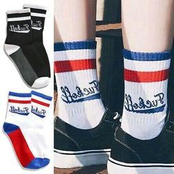 Funny Men Women Couples Cotton Striped Socks Hosiery Fuck-of