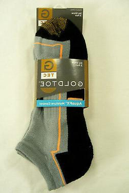 GOLD TOE  G Tec Mens Gray No Show Athletic Socks 3pk Size 10