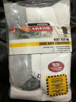 Dickies Genuine Men's 5-Pair Crew Work Socks - White / Grey