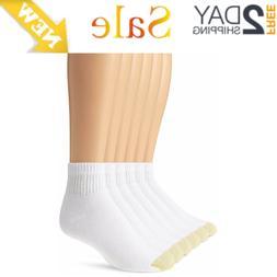 Gold Toe Men's 6 Pack Cotton Quarter Athletic Socks 656P Whi