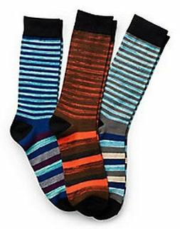 Hanes Men's Random Stripe Crew Socks 3-Pack 10-13 Blues Oran
