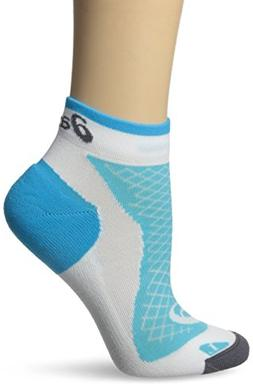ASICS Women's Hera Deux Mini Quarter Sock, Large, White/Blue