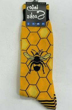 Into Socks Honey Bee Socks Honeycomb Socks Men's Yellow Crew