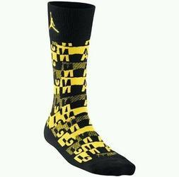 ba2295cbd73b89 Nike Jordan Socks Black Yellow 631714 017 NWT Men s Shoe Siz
