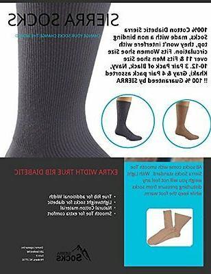 Sierra 100% Diabetic Cotton Men Crew Smooth Socks M11