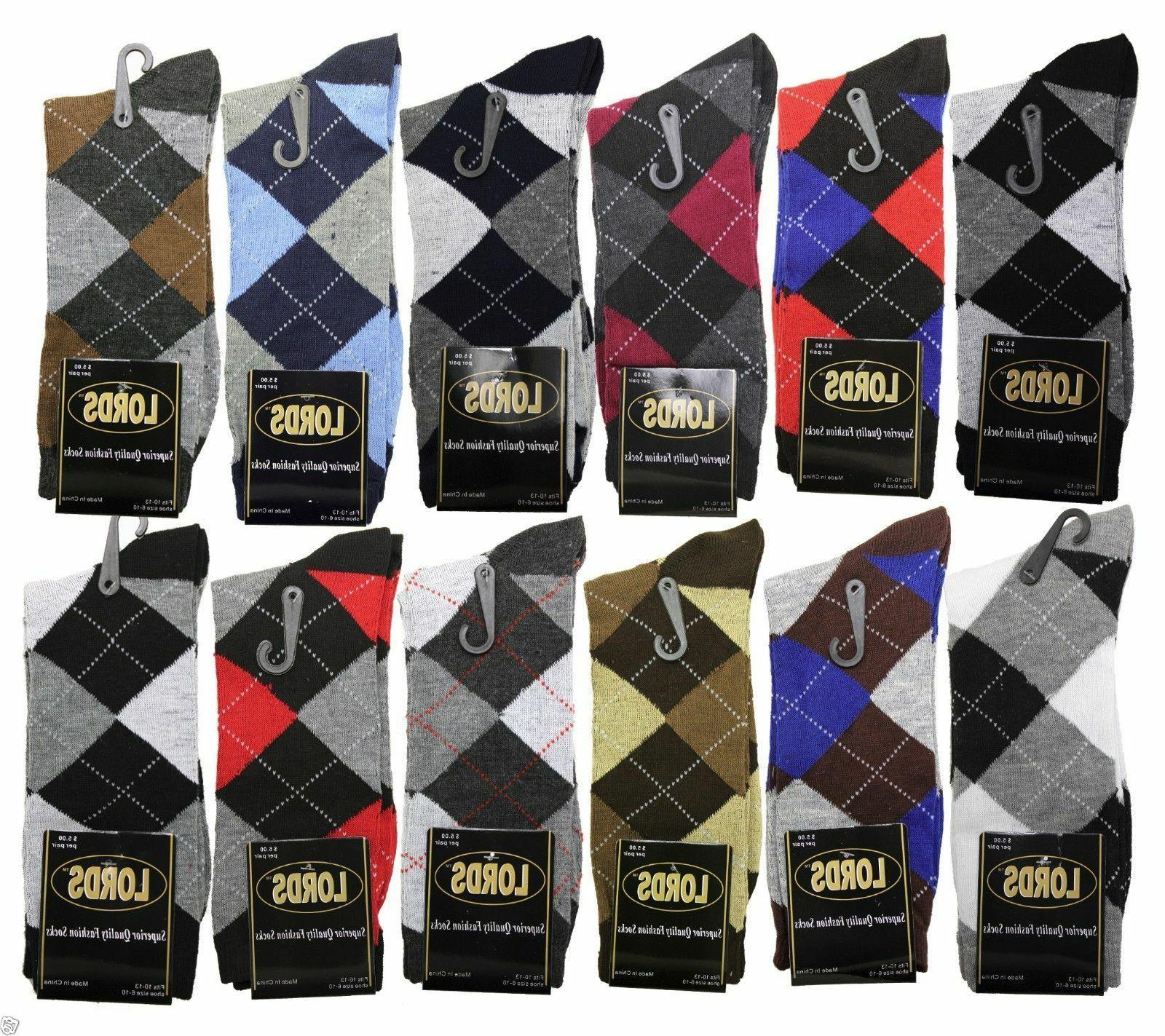 12 pairs 1 dozen men argyle diamond