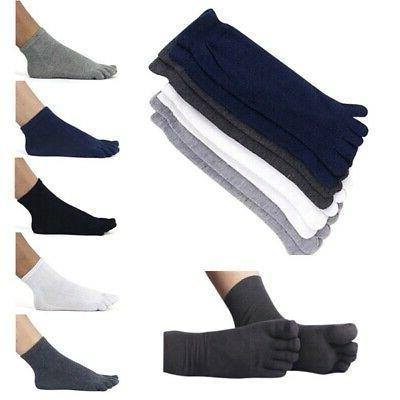 Men 5 Fingers Toe Socks Breathable Cotton Polyester Ankle Ho