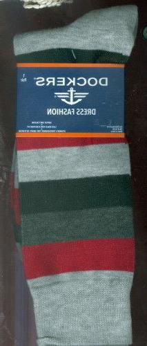2 Pair Dockers Men's Striped SOFT Dress Socks ~ Crew ~ Shoe