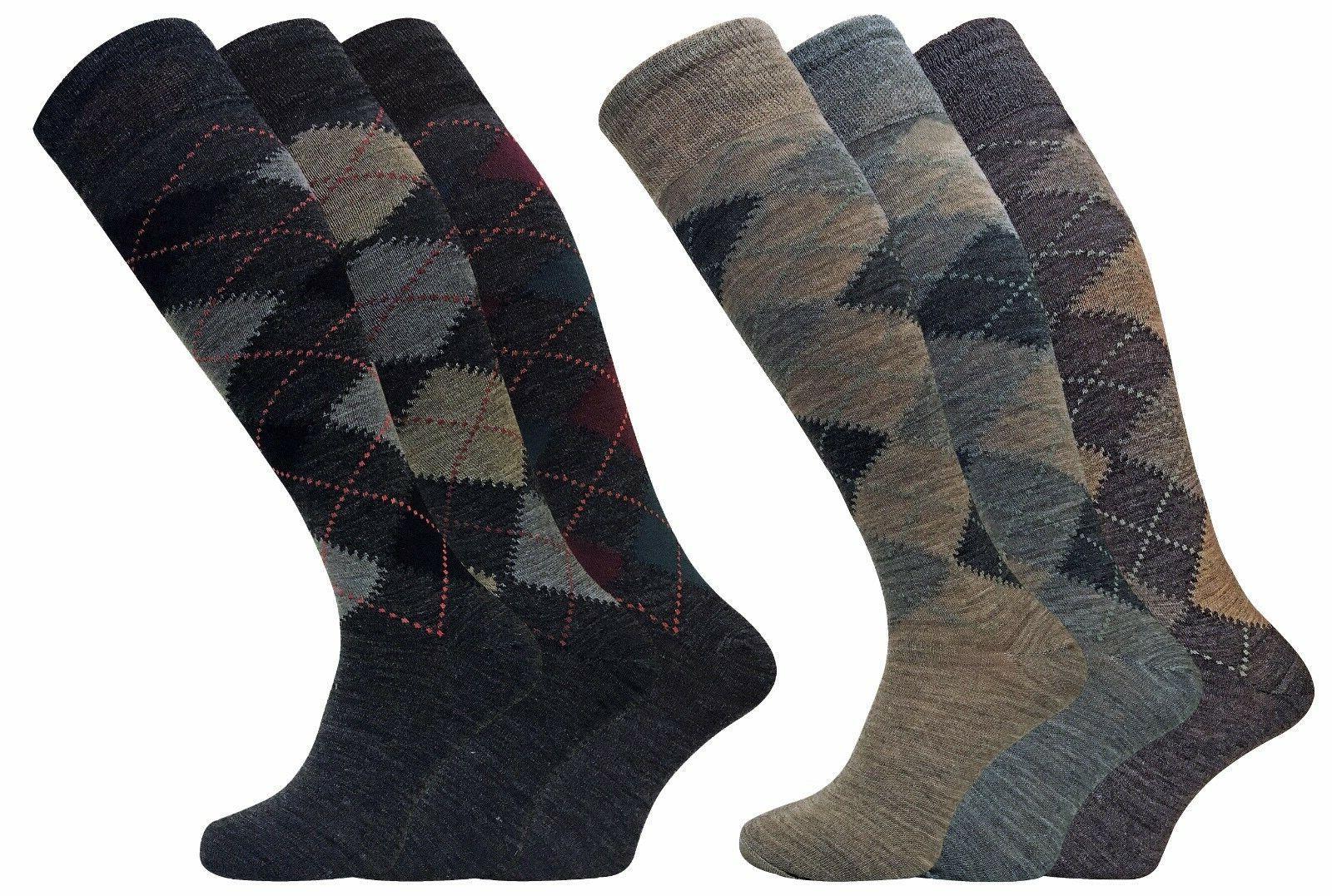 3 Pack Mens Thin Warm Extra Long Knee High Argyle Pattern La