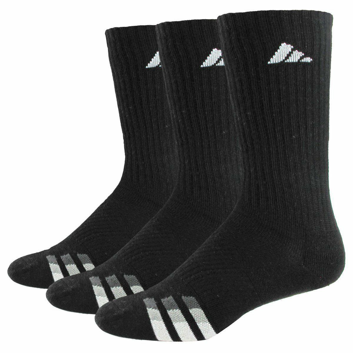 3 Pair Adidas Men's Cushioned Crew Socks Shoe Size 6-12 Vari