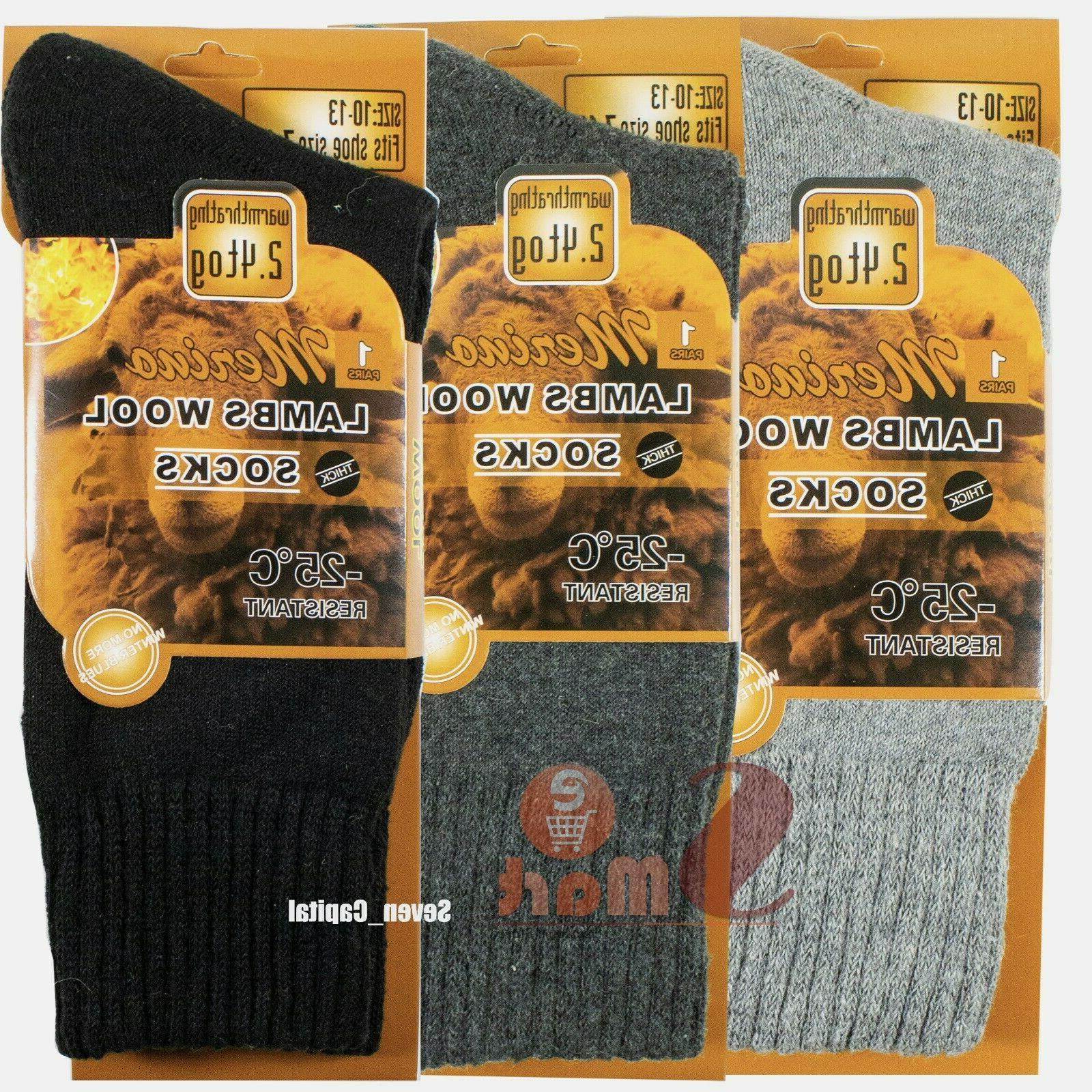 3 Merino Lambs Wool Heavy Thermal Boots Socks For Mens