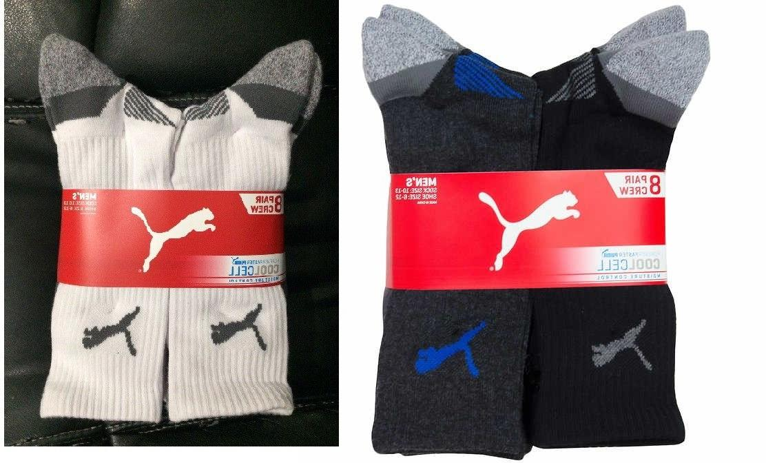 4 PACK OR PACK!! Men's PUMA Crew Socks - CELL Size