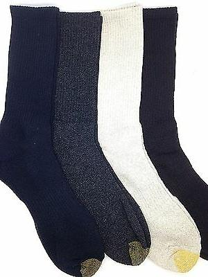 $40 GOLD TOE Men 4 PAIR PACK Athletic Sport CREW SOCKS Blue