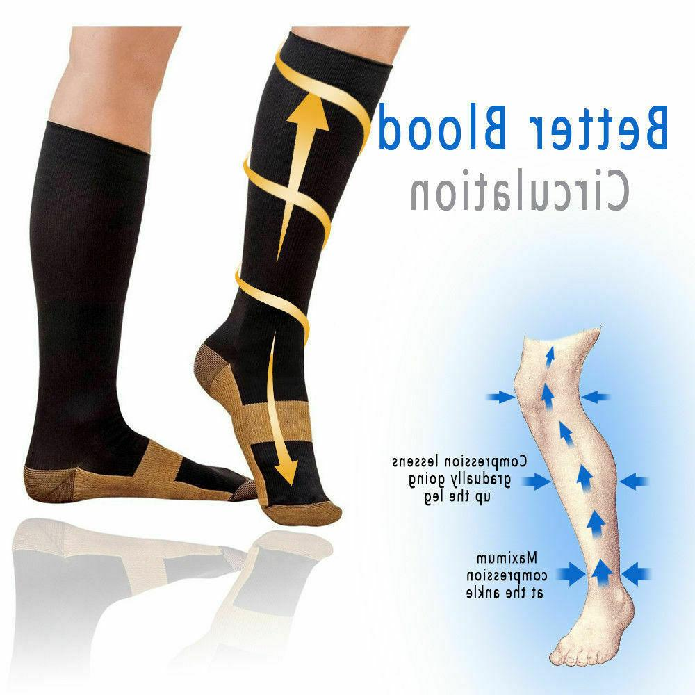 5 Pairs Compression Socks Mens Womens S/M-XXL