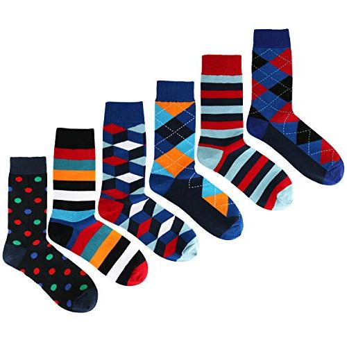 6 Pack Colorful Argyle Dress Crew Sock, Classic Cotton Socks